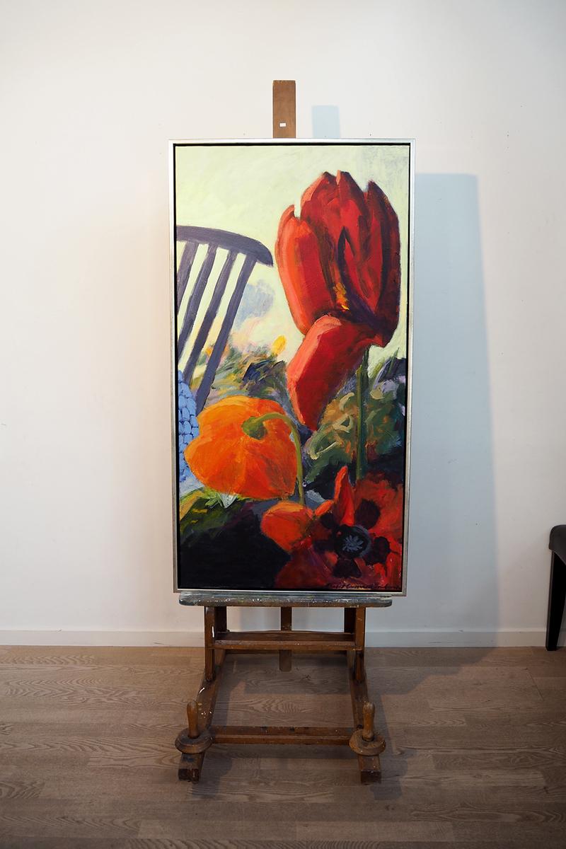 Blomstermotiverne fra forårsudstillingen Hey Nolde har de kraftige farver, som Margit Enggaard Poulsen håber, hun kan begynde at arbejde med igen.