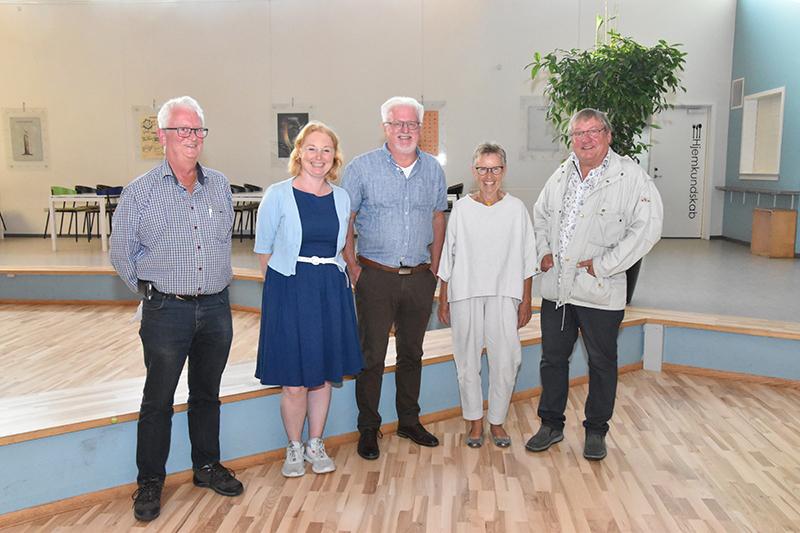 De fem genvalgte bestyrelsesmedlemmer: Jens Erik Jensen (tv.), Kristine Kaas Krog, Per Svarre, Irene Martinsen og Finn Arne Hansen.