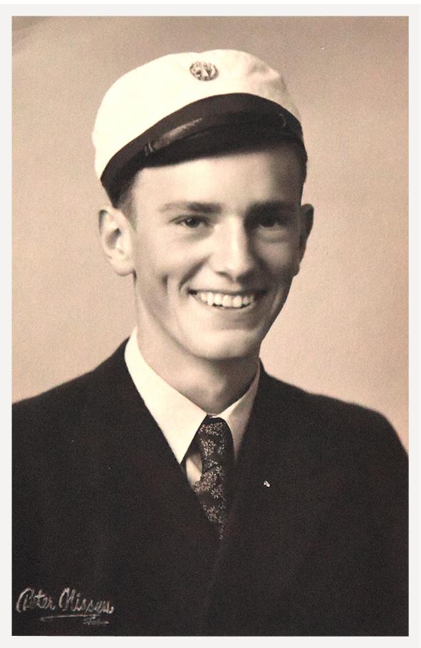 Bent Holm Thomsen som student i 1945. Han var en af de få på Fanø, der læste videre.