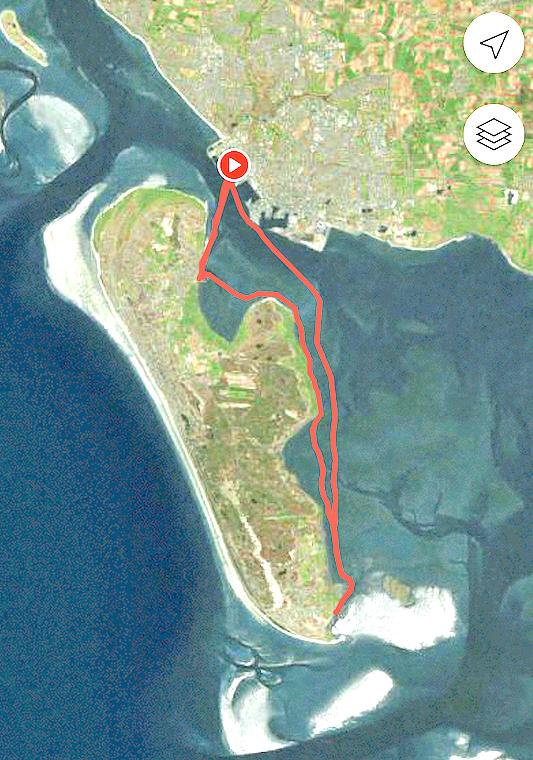 Roernes rute Esbjerg-Fanø og retur, i alt 35 kilometer.
