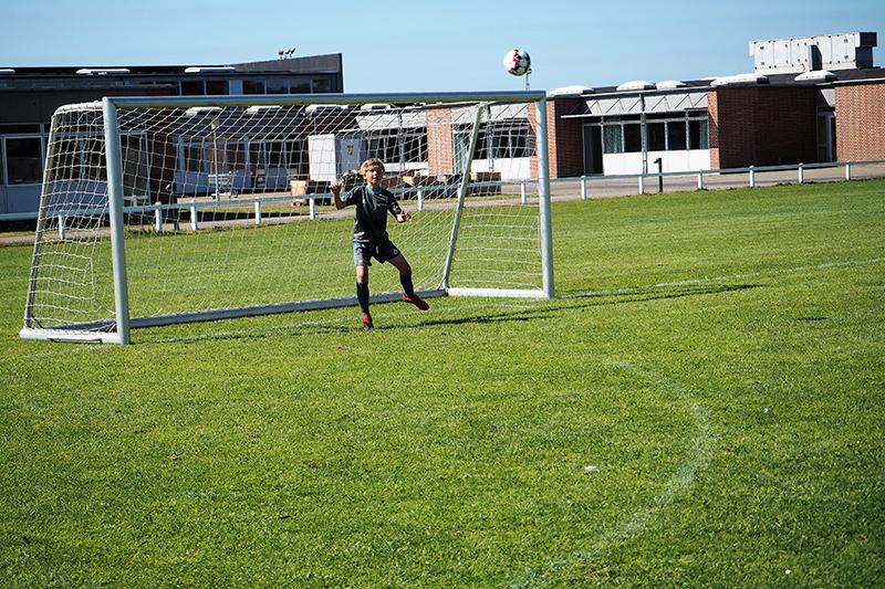 Christoffer Donslund på 11 år fra Skørping spiller til daglig defensiv midtbane.
