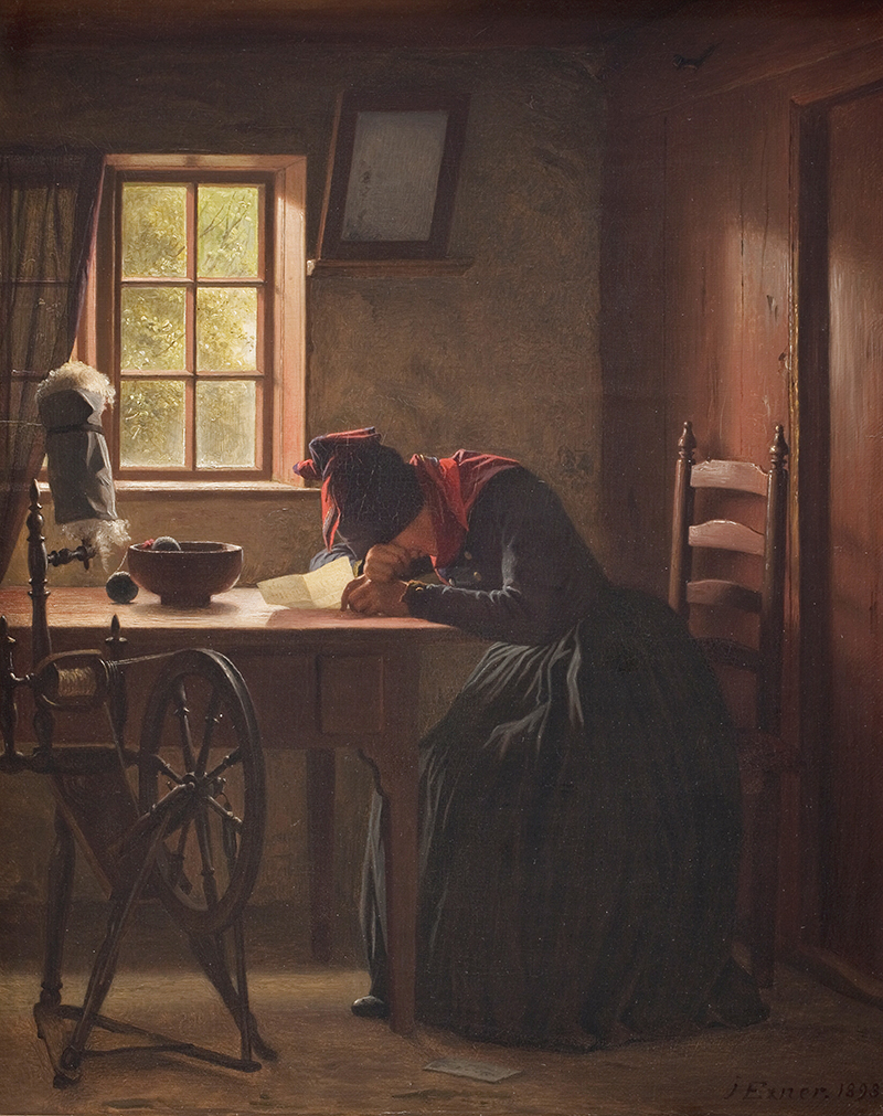 Julius Exner, der var en af de første kunstnere i Sønderho, skildrede folkelivet på Fanø. Her maleriet Et telegram fra 1893. Foto: Statens Museum for Kunst.