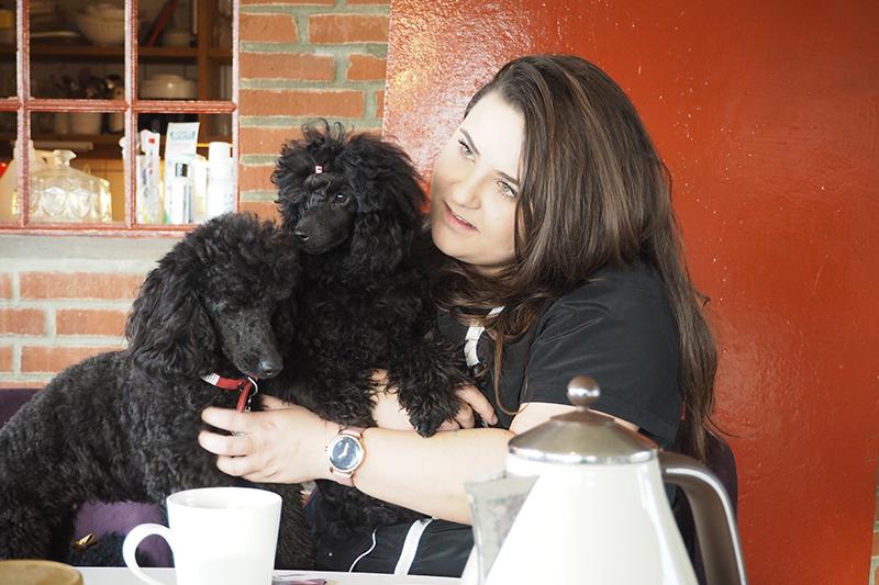 """""""Mine hunde er en harmonisk flok, og så er de møgforkælede,"""" siger Melanie Brinch Bathum, her med Rosie og Donna."""