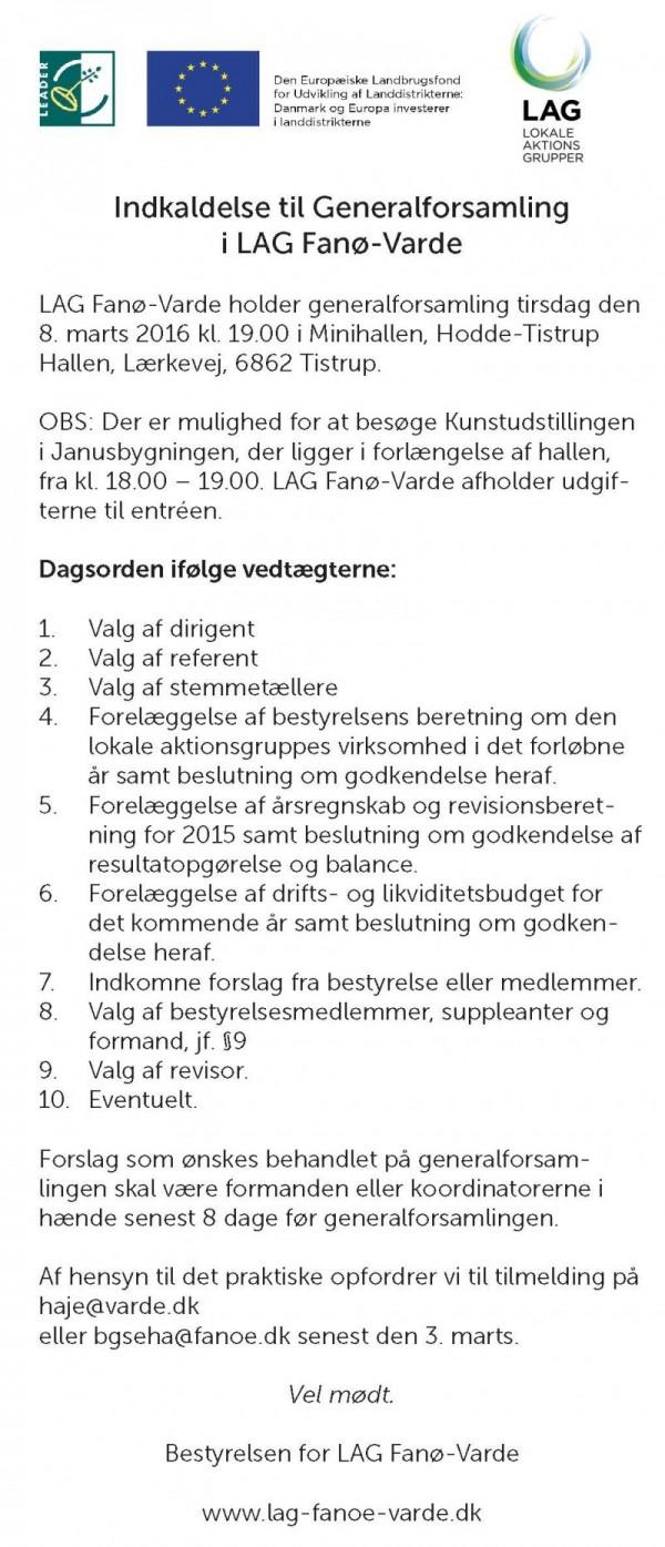 Indkaldelse LAG Fano-Varde GF