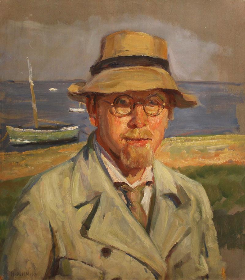 Heinrich Dohm, der havde hus i Sønderho, var en meget kendt portrætmaler. Her et selvportræt fra 1932 med Sønderho Havn i baggrunden. Foto: Fanø Kunstmuseum.