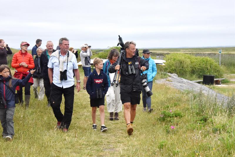 Søren Brinch (med kamera og stativ) er i sit rette element, når han på Fanø Fuglestations vegne tager interesserede med på fuglekikketure på Fanø.
